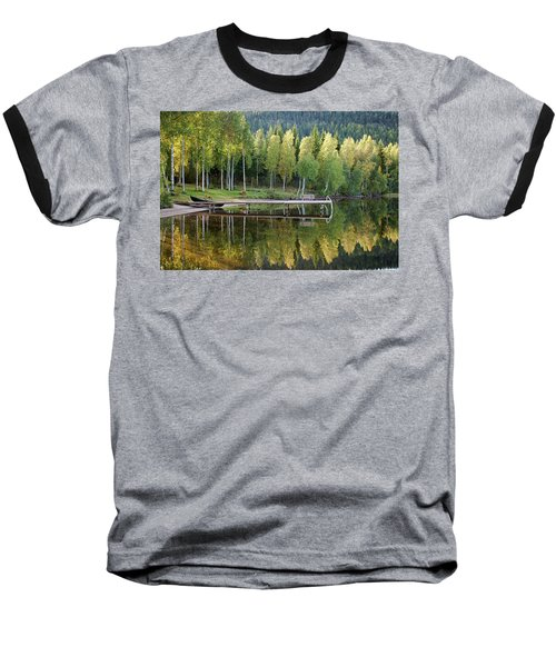 Birches And Reflection Baseball T-Shirt by Aivar Mikko