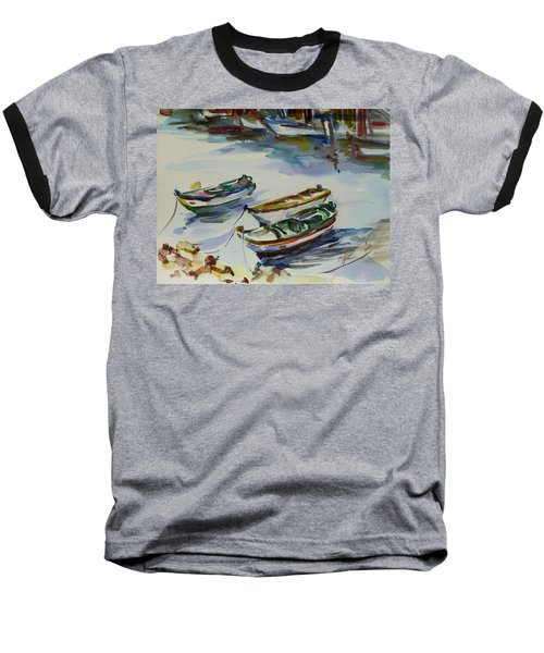 Baseball T-Shirt featuring the painting 3 Boats I by Xueling Zou