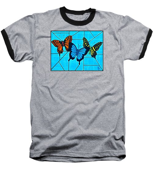3  Butterflies On Blue Baseball T-Shirt
