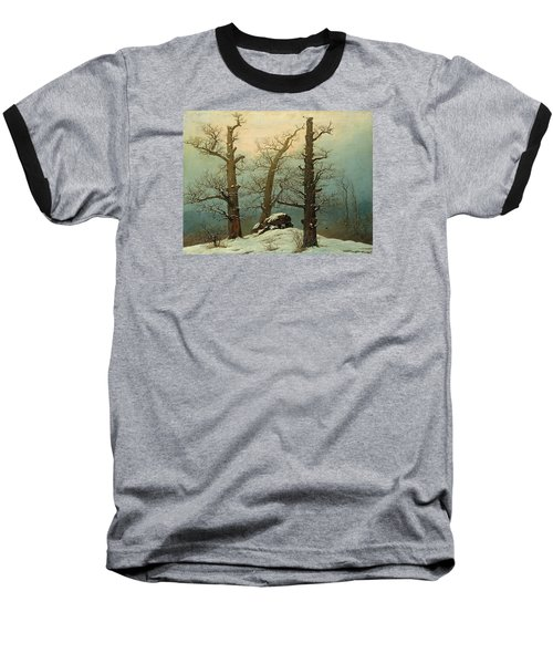Cairn In Snow Baseball T-Shirt by Caspar David Friedrich
