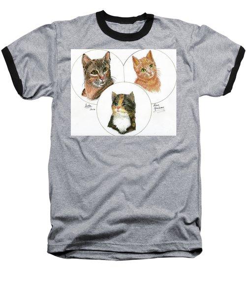 3 Cats For Juda Baseball T-Shirt by Bill Hubbard