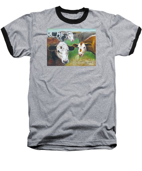 Baseball T-Shirt featuring the painting 3 Cows by Oz Freedgood
