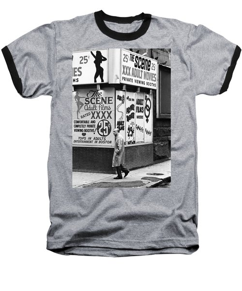 Film Homage Hard Core 1979 Porn Theater The Combat Zone Boston Massachusetts 1977 Baseball T-Shirt