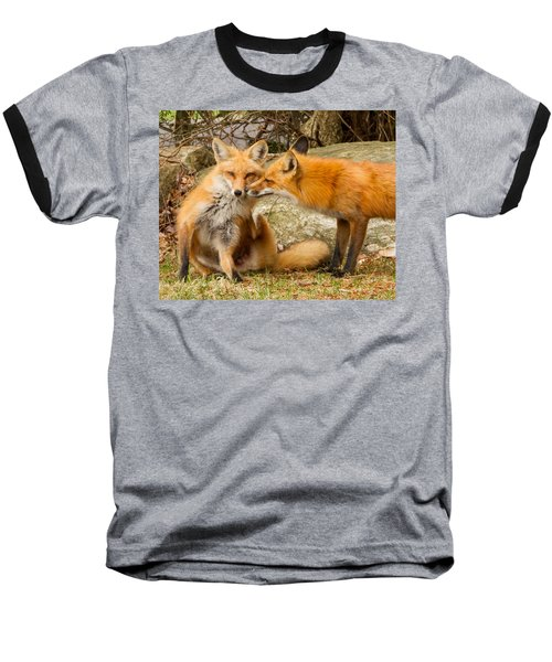 Foxes In Love Baseball T-Shirt by Brian Caldwell