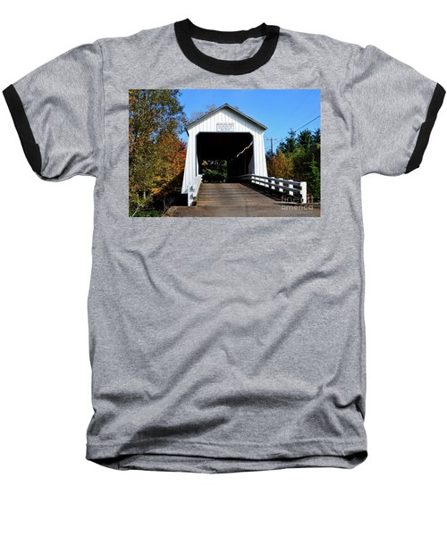 Gallon House Covered Bridge Baseball T-Shirt by Ansel Price