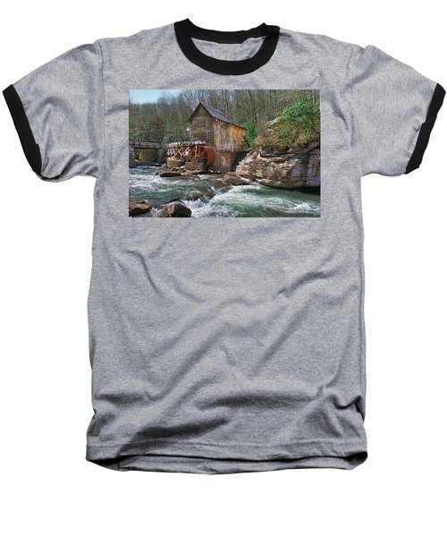 Glade Creek Grist Mill Baseball T-Shirt by Mary Almond