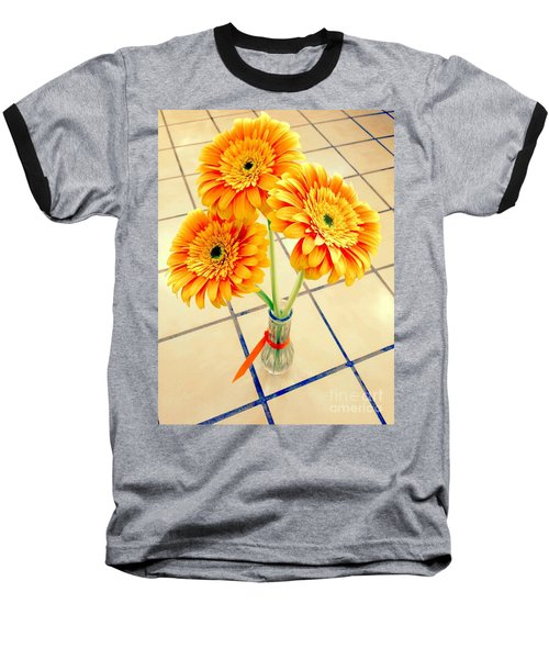 Baseball T-Shirt featuring the photograph 3 Golden Yellow Daisies Gift To My Beautiful Wife Suffering With No Hair Suffering Frombreast Cancer by Richard W Linford