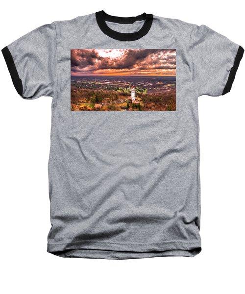 Heublein Tower, Simsbury Connecticut, Cloudy Sunset Baseball T-Shirt by Petr Hejl