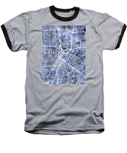 Houston Texas City Street Map Baseball T-Shirt