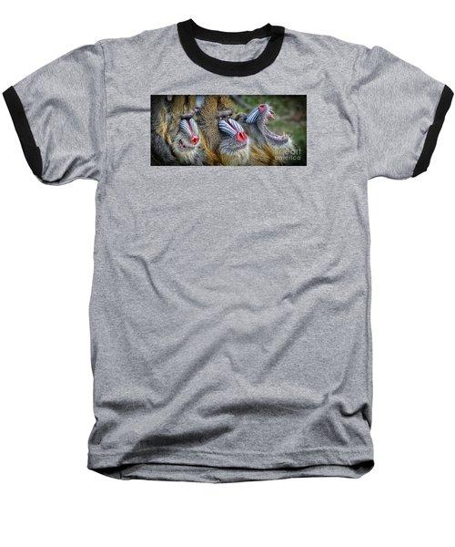 3 Male Mandrills  Baseball T-Shirt by Jim Fitzpatrick