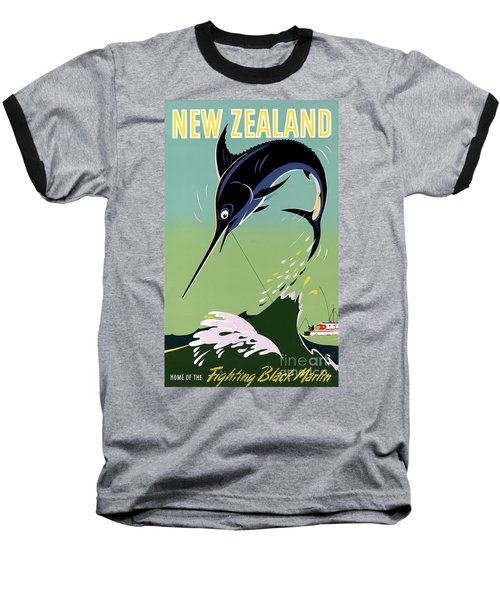 New Zealand Vintage Travel Poster Restored Baseball T-Shirt by Carsten Reisinger