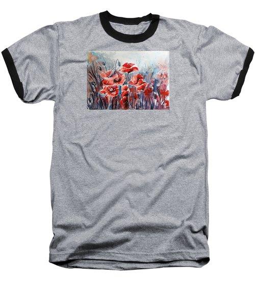 Poppies Baseball T-Shirt by Kovacs Anna Brigitta