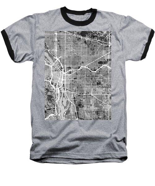 Baseball T-Shirt featuring the digital art Portland Oregon City Map by Michael Tompsett