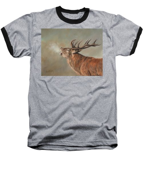 Red Deer Stag Baseball T-Shirt by David Stribbling