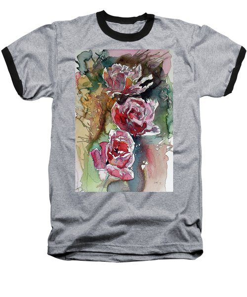 Baseball T-Shirt featuring the painting Roses by Kovacs Anna Brigitta