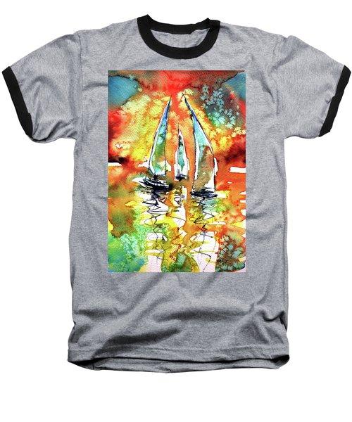 Sailboats Baseball T-Shirt by Kovacs Anna Brigitta