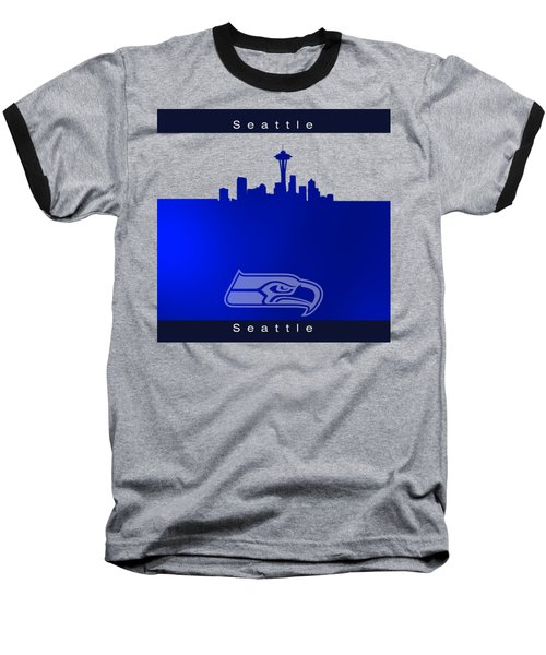 Seattle Seahawks Skyline Baseball T-Shirt by Alberto RuiZ