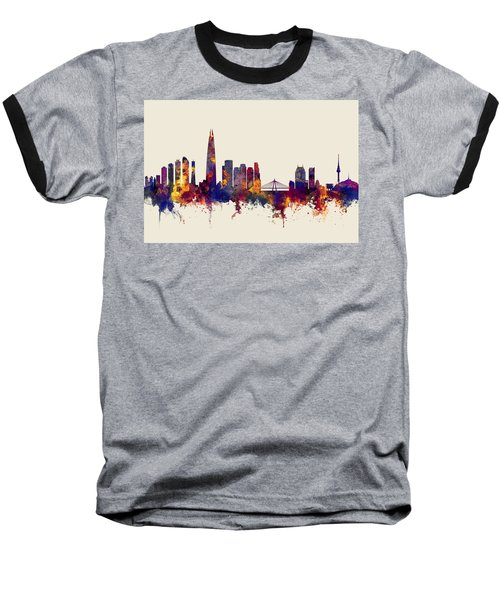 Baseball T-Shirt featuring the digital art Seoul Skyline South Korea by Michael Tompsett