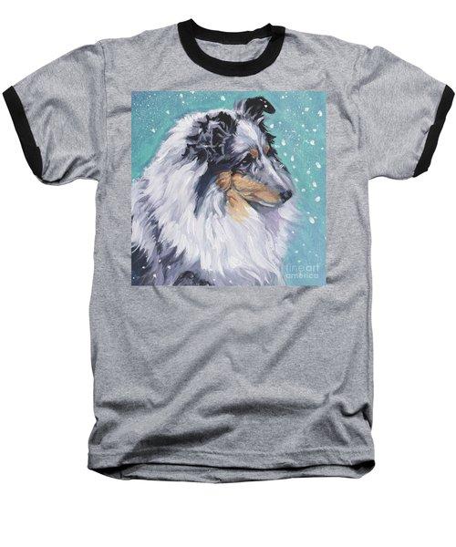 Baseball T-Shirt featuring the painting Shetland Sheepdog by Lee Ann Shepard