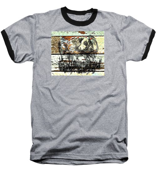 Baseball T-Shirt featuring the drawing Simmental Bull by Larry Campbell