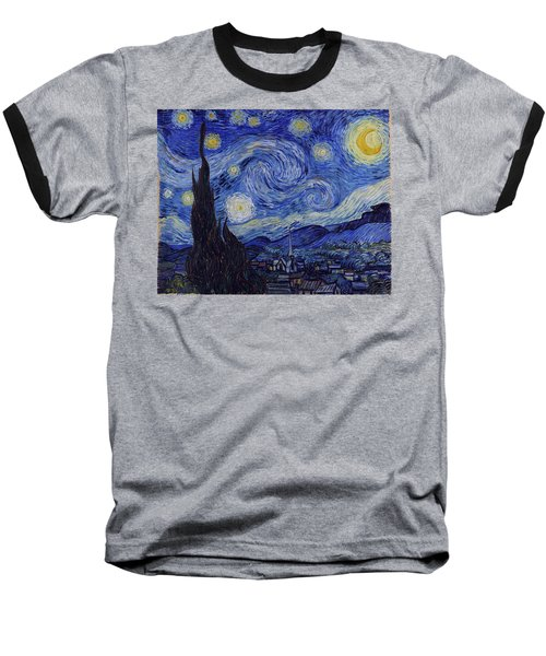 Baseball T-Shirt featuring the painting Starry Night by Van Gogh