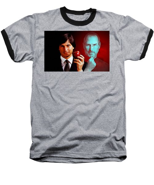 Baseball T-Shirt featuring the mixed media Steve Jobs by Marvin Blaine