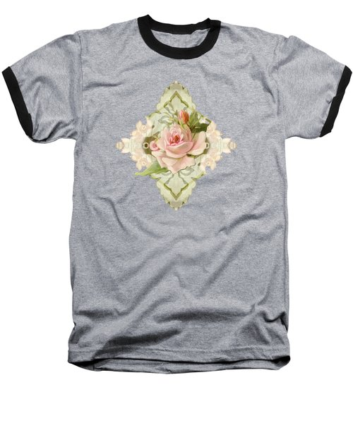 Summer At The Cottage - Vintage Style Damask Roses Baseball T-Shirt by Audrey Jeanne Roberts