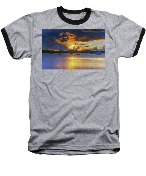 Sunrise Waterscape With Clouds And Boats Baseball T-Shirt