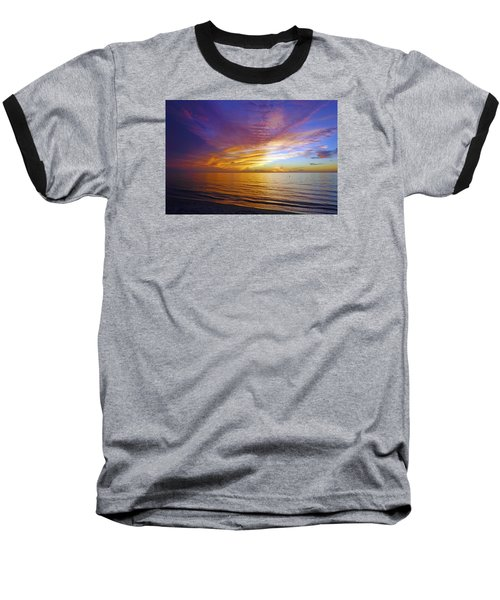 Sunset At Delnor Wiggins Pass State Park In Naples, Fl Baseball T-Shirt