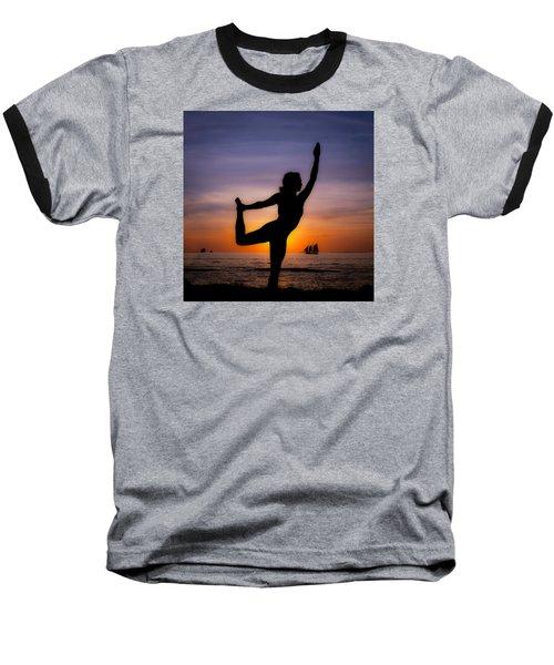 Sunset Yoga Baseball T-Shirt by Scott Meyer