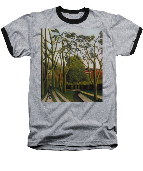 Baseball T-Shirt featuring the painting The Banks Of The Bievre Near Bicetre by Henri Rousseau
