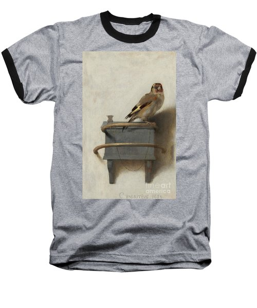 The Goldfinch Baseball T-Shirt by Carel Fabritius