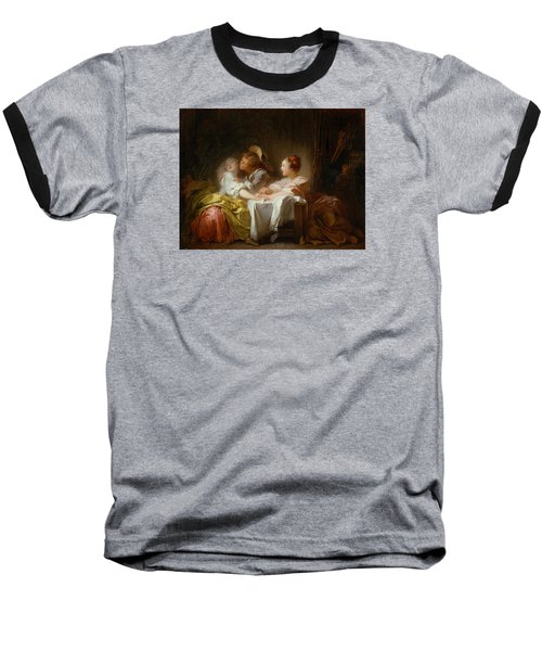 Baseball T-Shirt featuring the painting The Stolen Kiss by Jean-Honore Fragonard