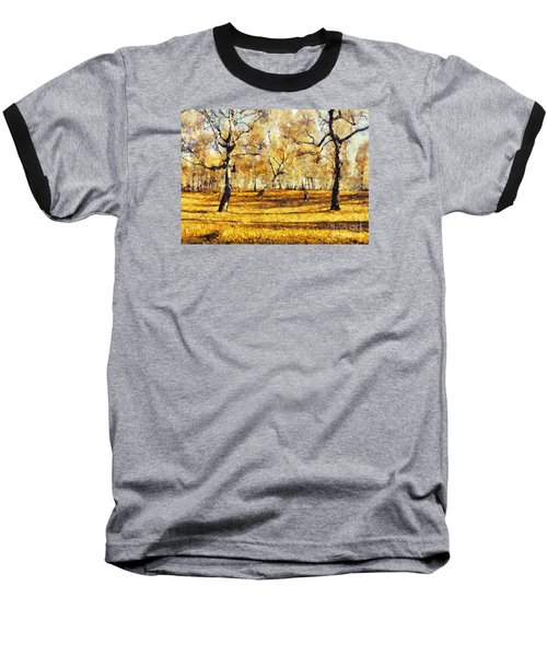 Watercolor Landscape Autumn Painting Forest Baseball T-Shirt
