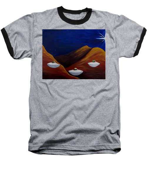 Baseball T-Shirt featuring the painting 3 Wise Guys by Lola Connelly