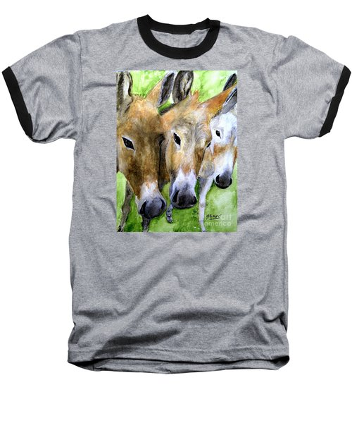 3 Wise Mules Baseball T-Shirt by Carol Grimes