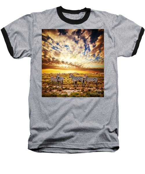 Zebras Herd On African Savanna At Sunset. Baseball T-Shirt