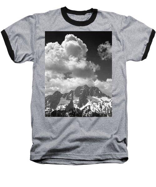 304638 Clouds Over Mt. Stuart Bw Baseball T-Shirt
