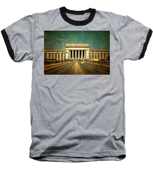 Baseball T-Shirt featuring the mixed media 30th Street Station Traffic by Trish Tritz