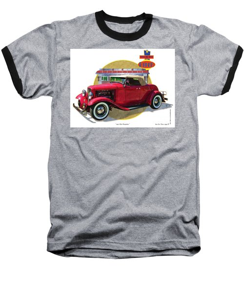 Baseball T-Shirt featuring the drawing 32 Red Roadster by Kenneth De Tore