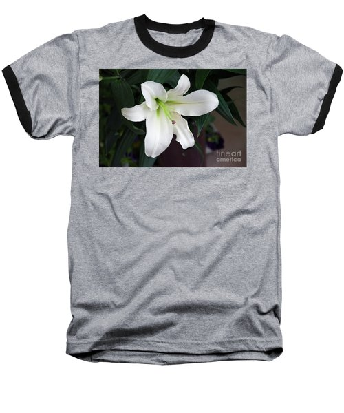 White Lily Baseball T-Shirt by Elvira Ladocki