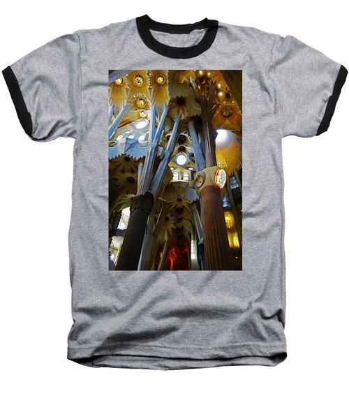Artistic Achitecture Within The Sagrada Familia In Barcelona Baseball T-Shirt by Richard Rosenshein