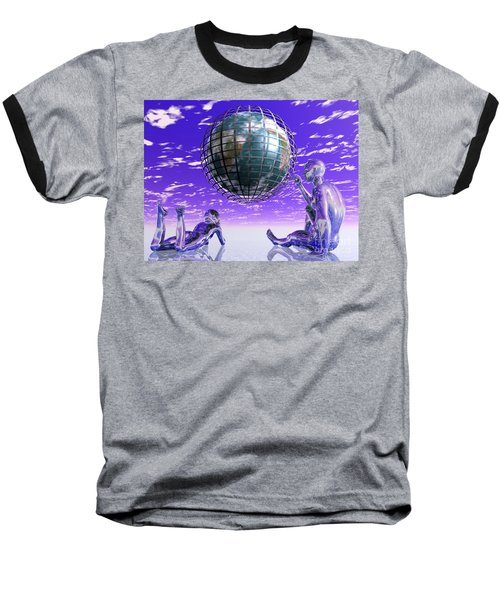 3d Aliens With Caged Earth Baseball T-Shirt