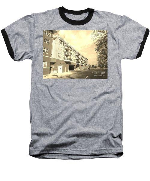 3rd Street Columbus Indiana - Sepia Baseball T-Shirt by Scott D Van Osdol