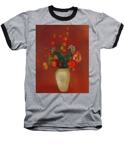 Baseball T-Shirt featuring the painting Bouquet In A Chinese Vase by Odilon Redon