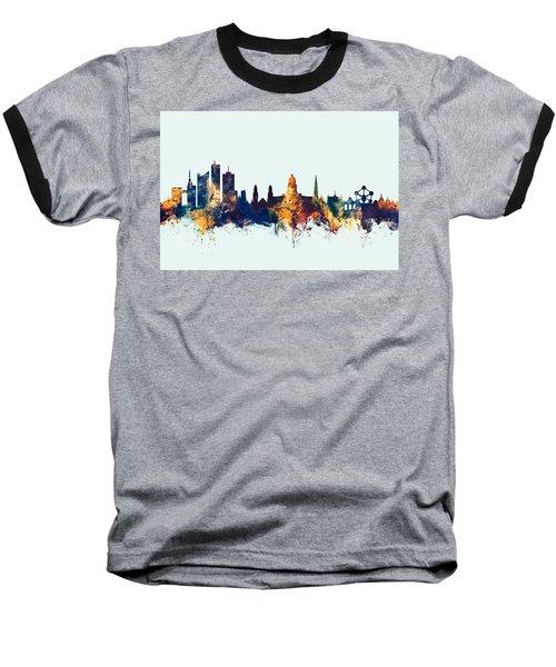 Baseball T-Shirt featuring the digital art Brussels Belgium Skyline by Michael Tompsett