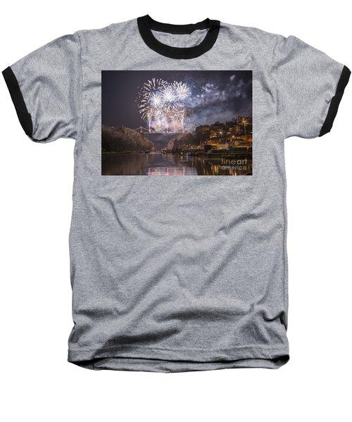 Clifton Suspension Bridge Fireworks Baseball T-Shirt by Colin Rayner