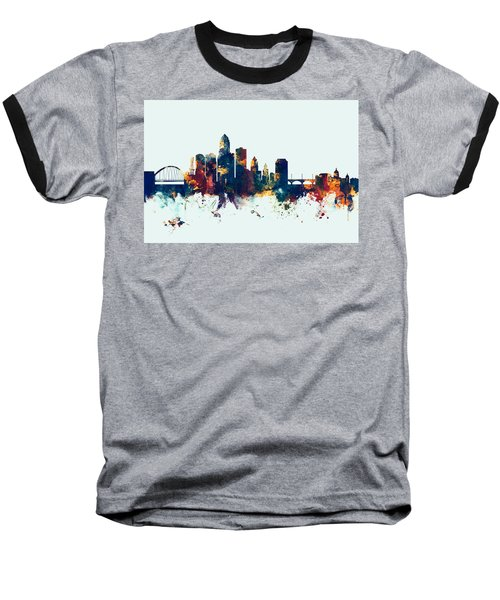 Des Moines Iowa Skyline Baseball T-Shirt
