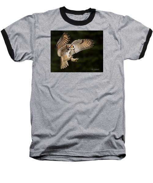 Great Horned Owl Baseball T-Shirt by CR Courson