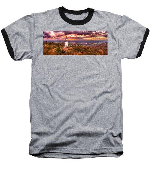Heublein Tower, Simsbury Connecticut, Cloudy Sunset Baseball T-Shirt